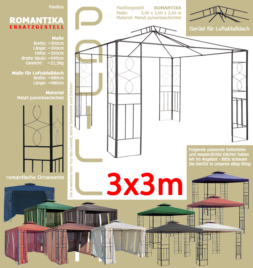 ersatzgestell pavillon romantika 3x3m pavillion. Black Bedroom Furniture Sets. Home Design Ideas