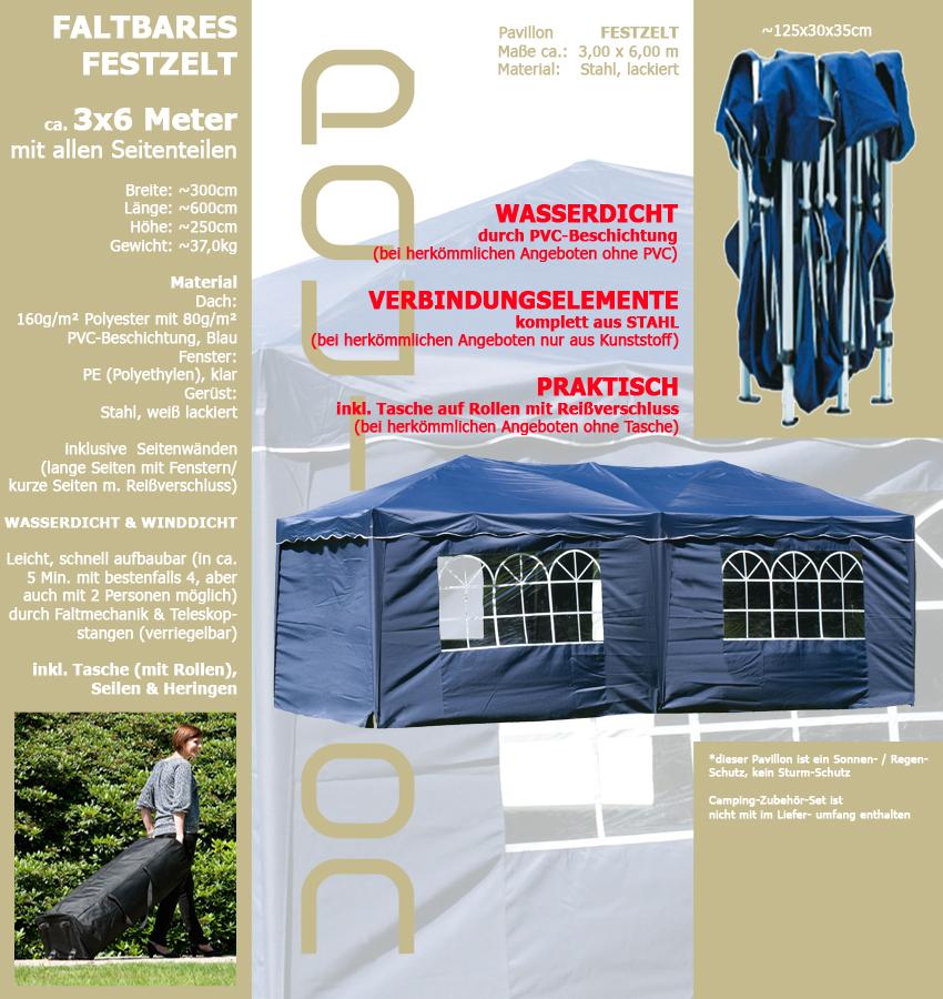 wasserdicht pavillon faltbar 3x6m inkl seiten. Black Bedroom Furniture Sets. Home Design Ideas