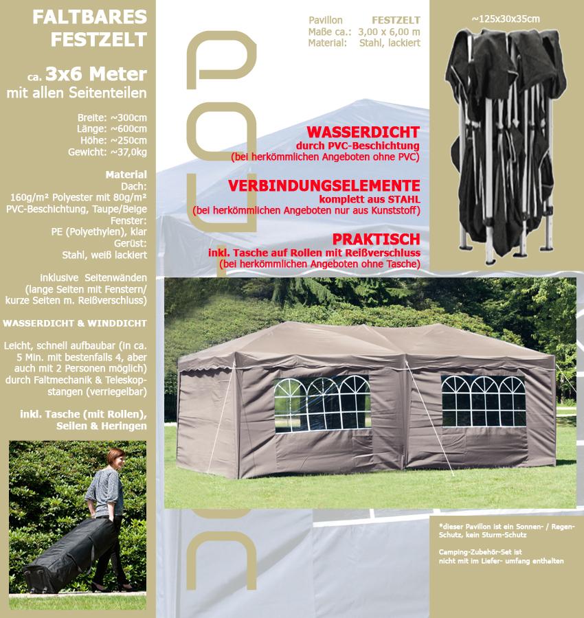 wasserdicht taupe beige pavillon faltbar 3x6m hochwertig. Black Bedroom Furniture Sets. Home Design Ideas