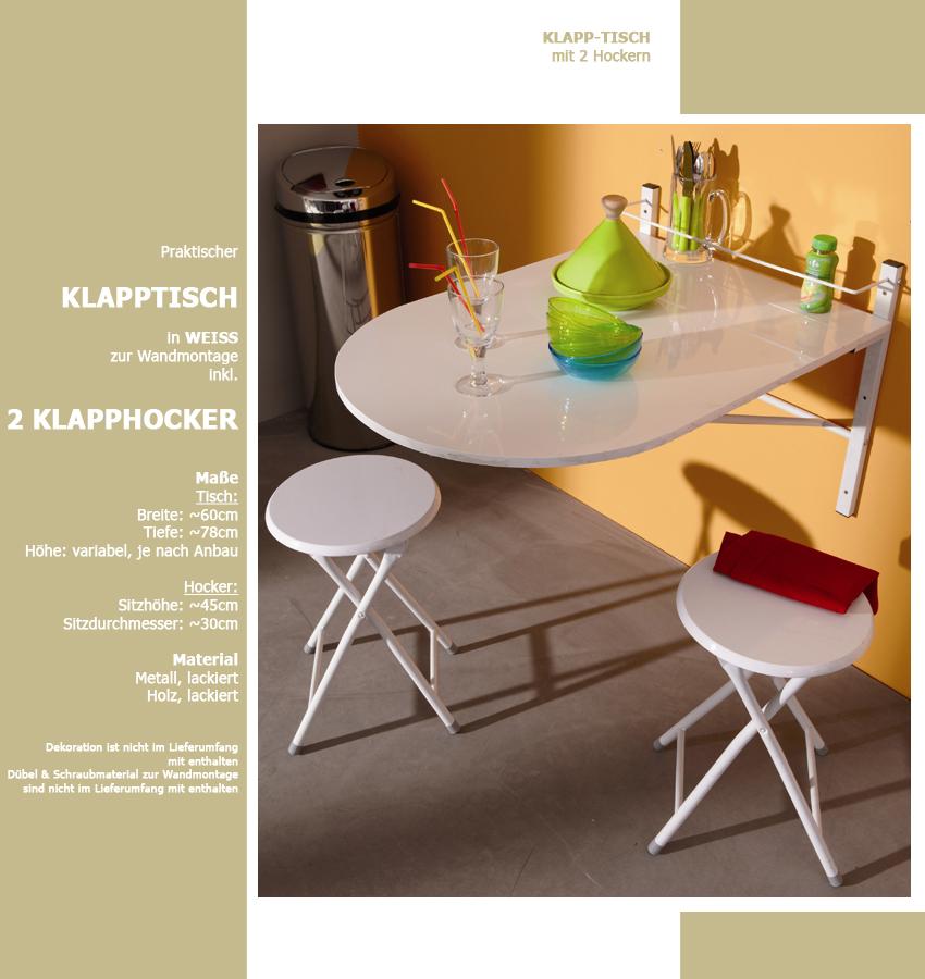 wand klapptisch inkl 2 klapp hocker wei wandtisch klappstuhl k chentisch ebay. Black Bedroom Furniture Sets. Home Design Ideas