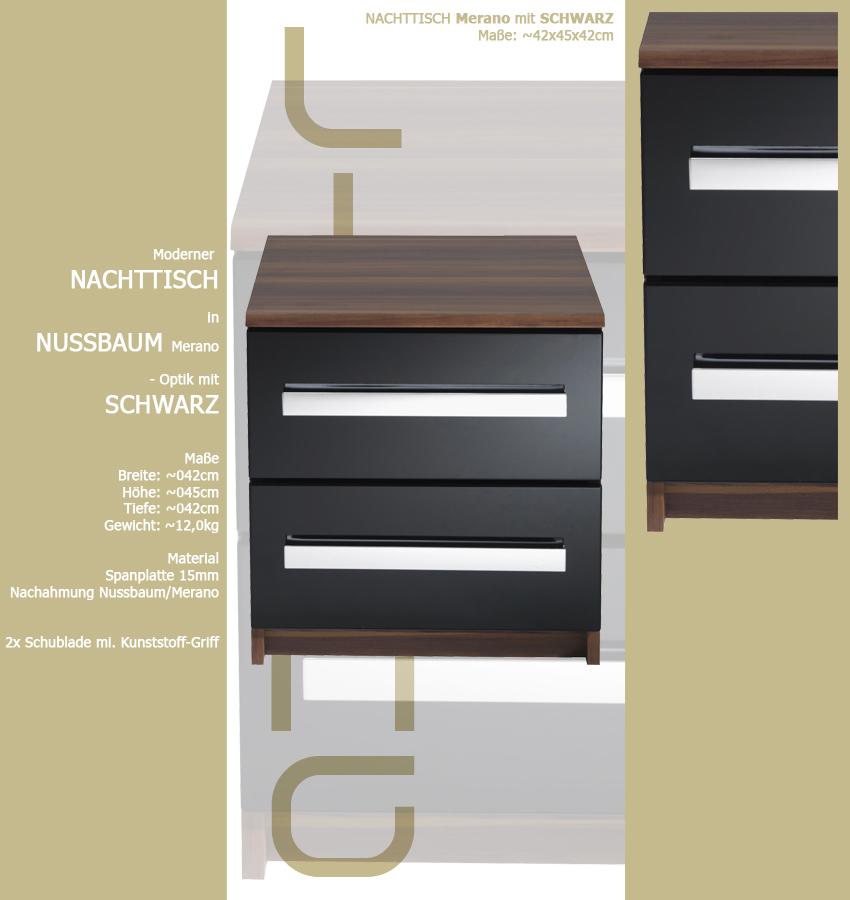 nachtschrank 434 nussbaum mit schwarz schublade holz nachttisch nachtkonsole ebay. Black Bedroom Furniture Sets. Home Design Ideas