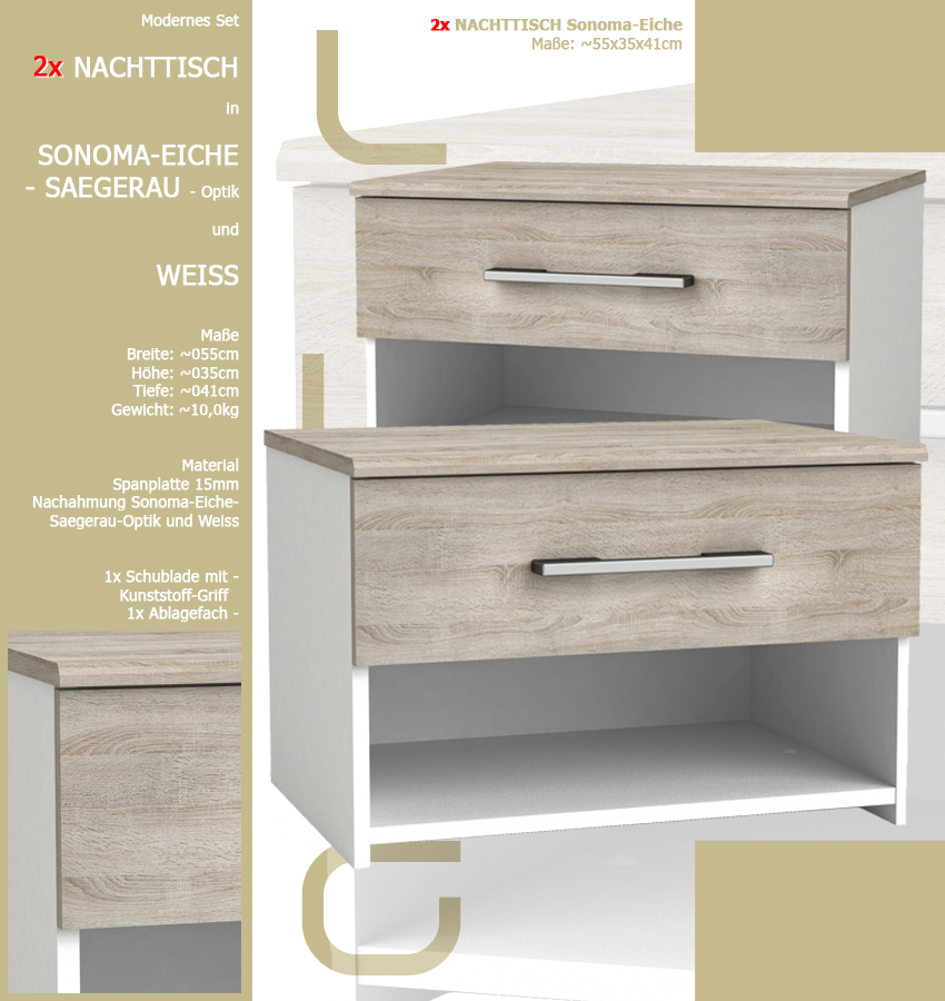 2x nachttisch 530 wei sonoma eiche s gerau schublade nachtschrank nachtschr nke ebay. Black Bedroom Furniture Sets. Home Design Ideas