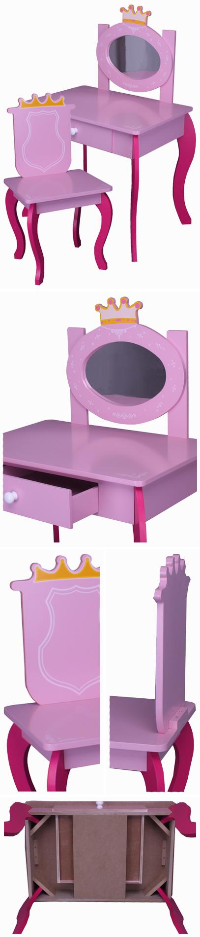kinder schminktisch pink rosa spiegel schublade stuhl. Black Bedroom Furniture Sets. Home Design Ideas
