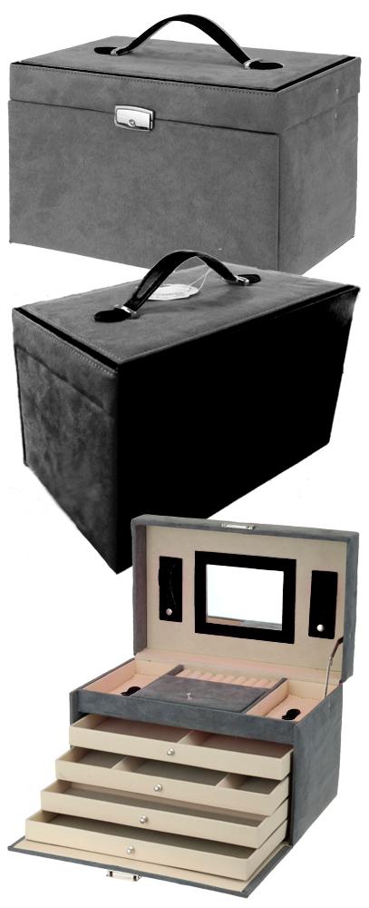 xxl schmuckkoffer grau mit schwarz schmuckkasten schatulle. Black Bedroom Furniture Sets. Home Design Ideas