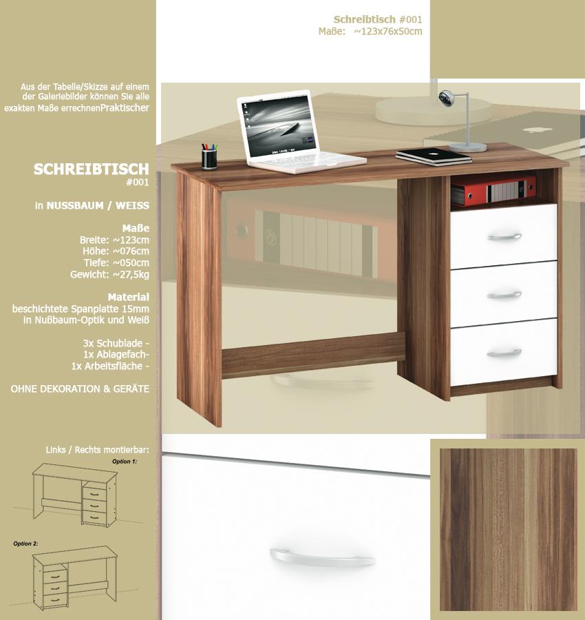 schreibtisch nussbaum weiss 001 computertisch pc. Black Bedroom Furniture Sets. Home Design Ideas