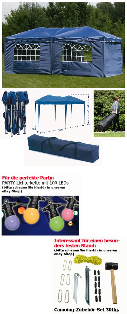 pavillon faltbar 3x6m blau inkl seiten faltpavillon partyzelt pavillion zelt. Black Bedroom Furniture Sets. Home Design Ideas