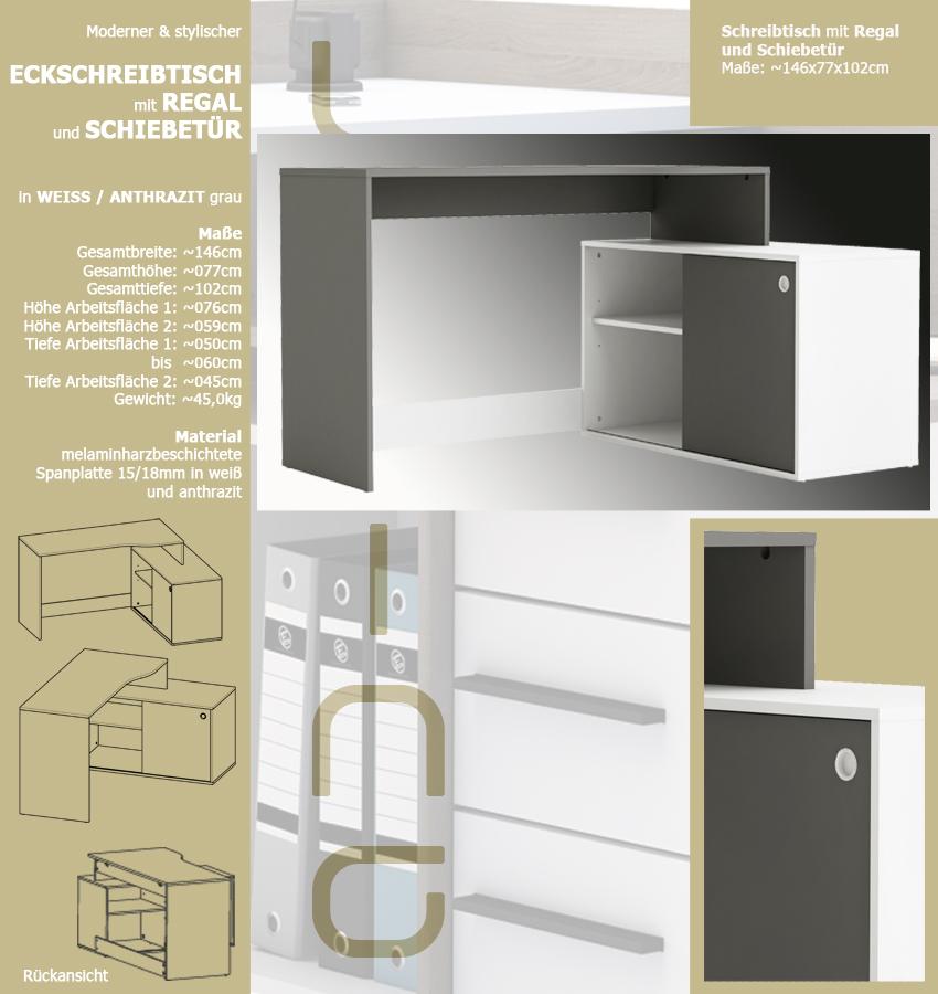 eck schreibtisch weiss anthrazit 241 schiebet r. Black Bedroom Furniture Sets. Home Design Ideas