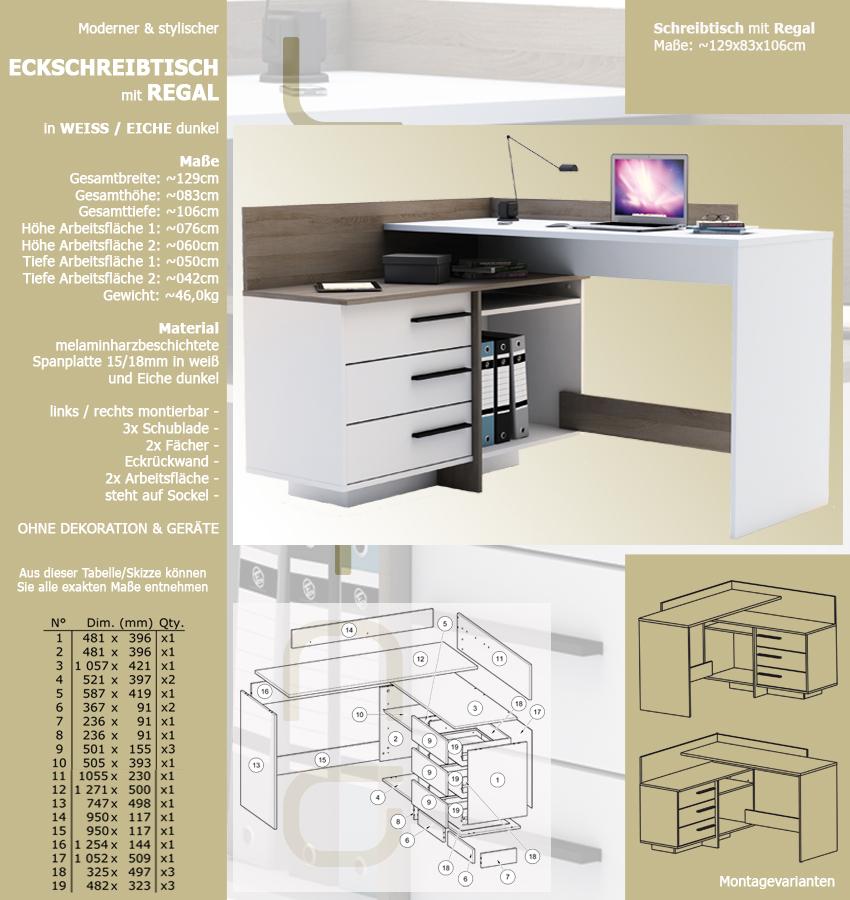 eck schreibtisch eiche wei 883 schreibtisch. Black Bedroom Furniture Sets. Home Design Ideas