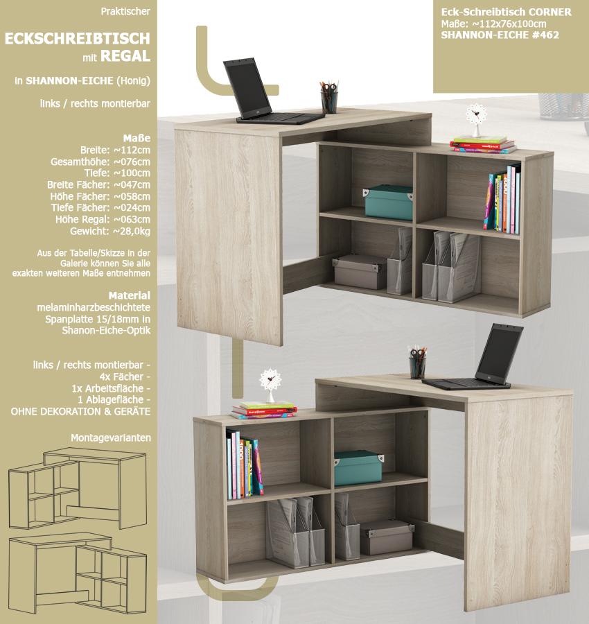 eck schreibtisch eiche 462 schreibtisch computertisch. Black Bedroom Furniture Sets. Home Design Ideas