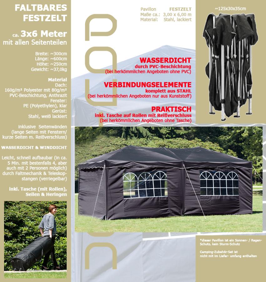 wasserdicht anthrazit pavillon faltbar 3x6m hochwertig. Black Bedroom Furniture Sets. Home Design Ideas