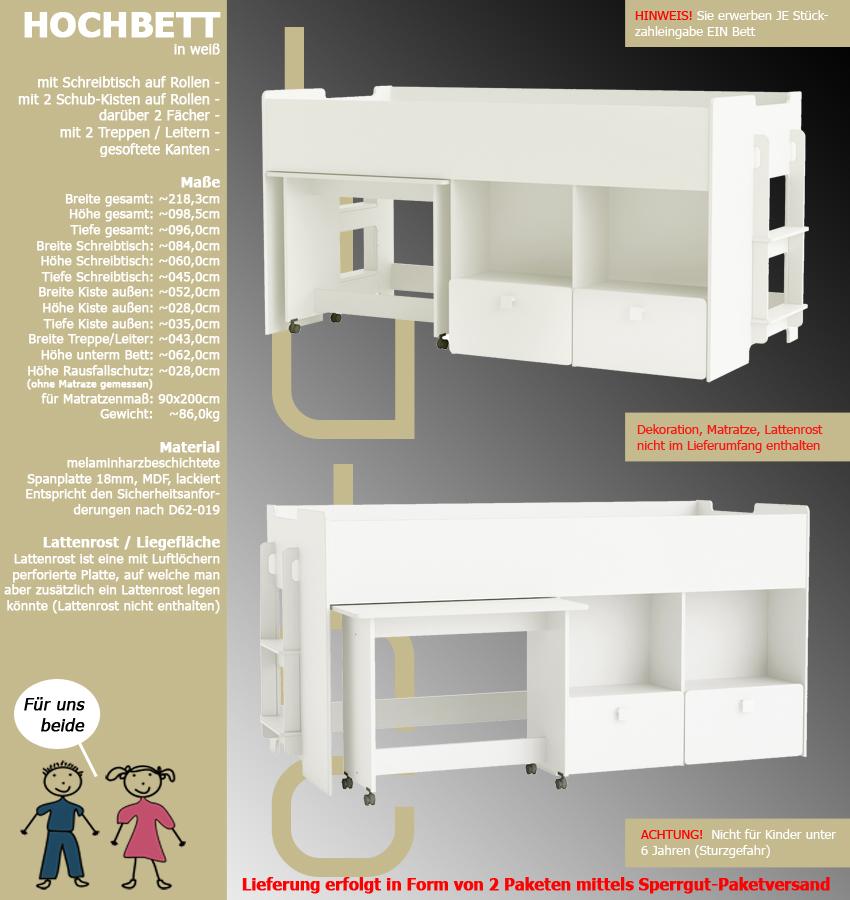 kinderbett hochbett weiss schreibtisch auf rollen 2 treppen kombibett 90x200cm ebay. Black Bedroom Furniture Sets. Home Design Ideas