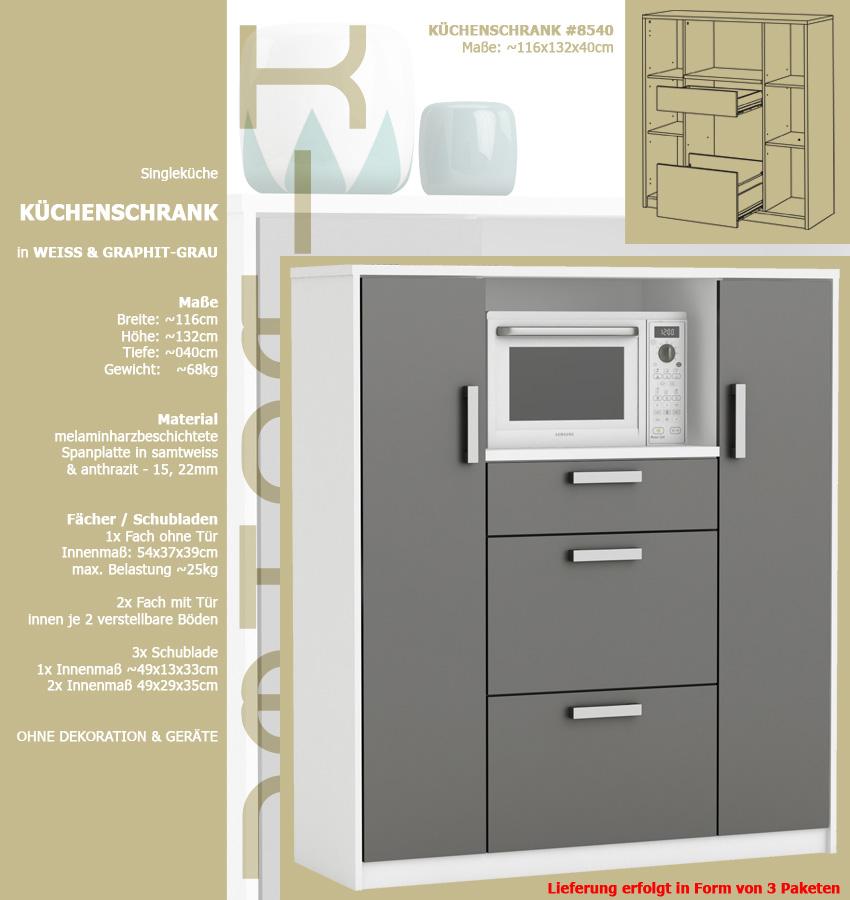 Küchenschrank 8540 Schrank Küchenregal Küchenmöbel Mikrowelle Buffet ...