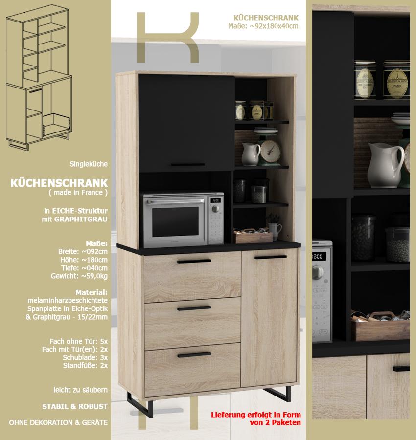 Küchenschrank 933 EICHE-schwarz Schrank Buffetschrank Küchenmöbel ...