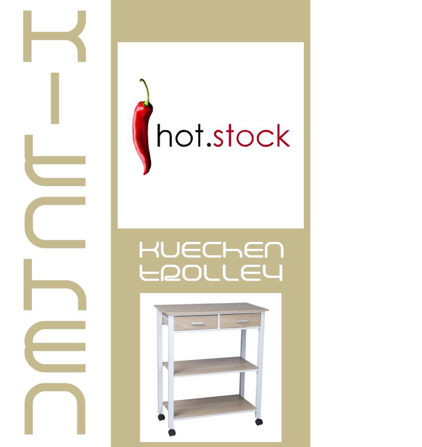 k chenwagen 2s wei metall eiche holz k chentrolley. Black Bedroom Furniture Sets. Home Design Ideas