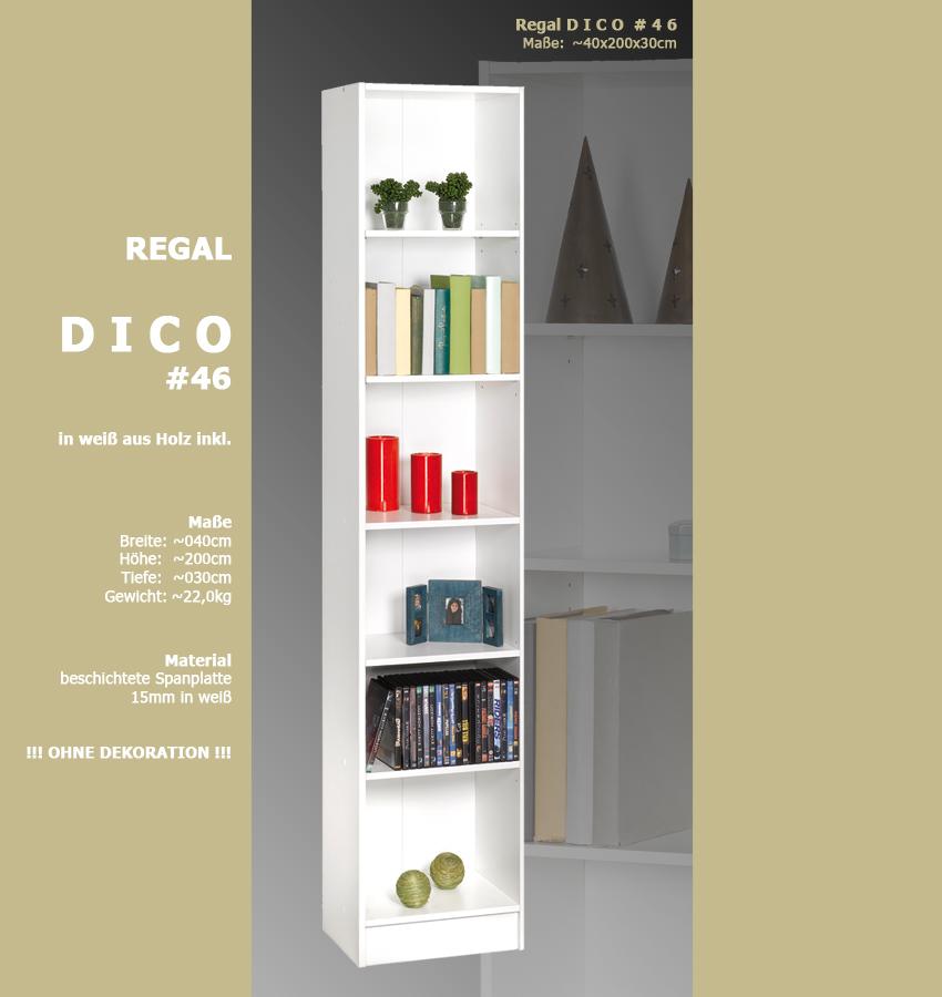 regal dico weiss 46 standregal b cherregal badregal. Black Bedroom Furniture Sets. Home Design Ideas