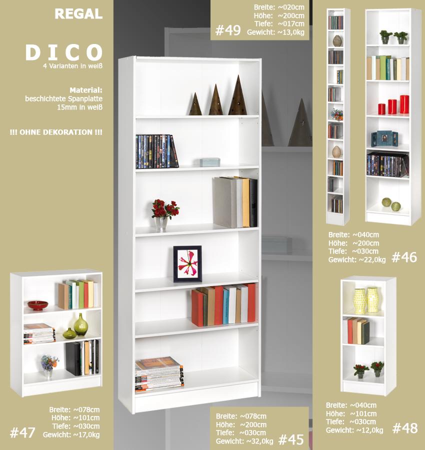 regal dico weiss standregal b cherregal badregal tv regal. Black Bedroom Furniture Sets. Home Design Ideas