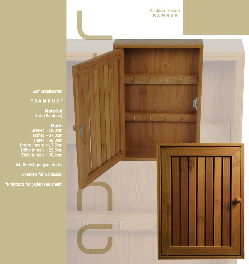 schl sselkasten bambus holz schl sselschrank keyholder. Black Bedroom Furniture Sets. Home Design Ideas