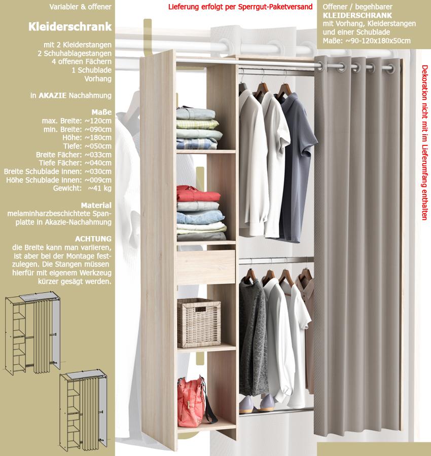 kleiderschrank 0897 mit vorhang offen begehbar variabel schublade akzazie holz ebay. Black Bedroom Furniture Sets. Home Design Ideas