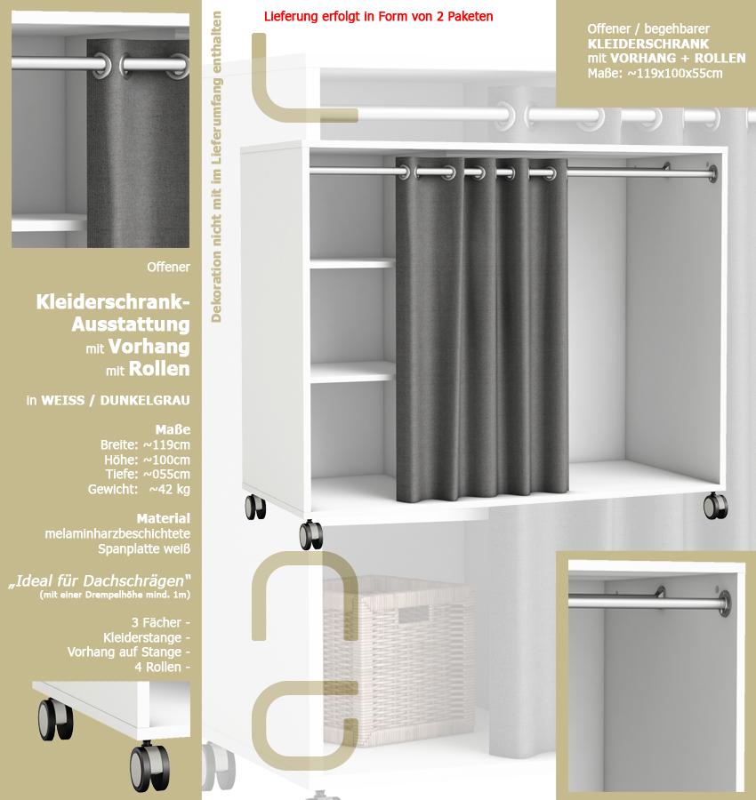 kleiderschrank 5318 mit rollen vorhang offen begehbar wei grau 120x100cm ebay. Black Bedroom Furniture Sets. Home Design Ideas