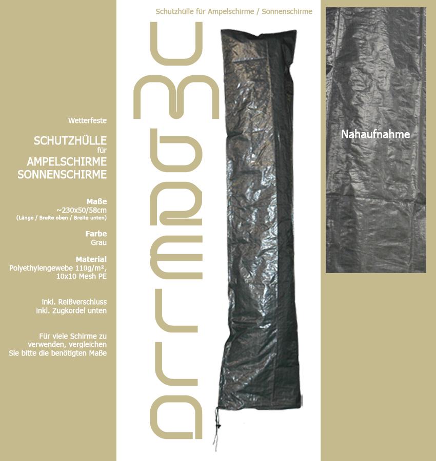 schutzh lle f r ampelschirm 259 grau wasserdicht sonnenschirm marktschirm haube ebay. Black Bedroom Furniture Sets. Home Design Ideas