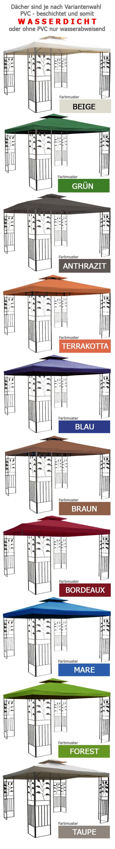 wasserdicht pavillon toskana 3x3m wasserfest pvc metall pavilllion dach 3x3 ebay. Black Bedroom Furniture Sets. Home Design Ideas