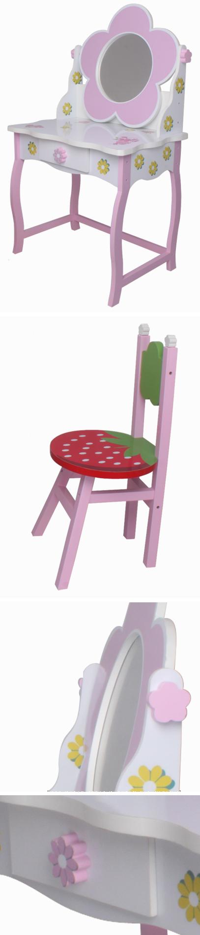 kinder schminktisch 264 blumen rosa gr n wei rot spiegel. Black Bedroom Furniture Sets. Home Design Ideas